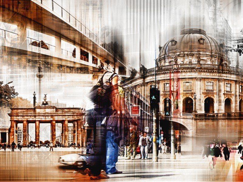 Artland Poster oder Leinwandbild »Architektur Gebäude Digitale Kunst Braun« in Braun