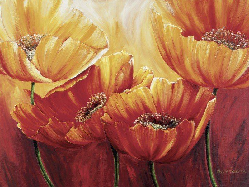 Artland Poster oder Leinwandbild »Botanik Blumen Mohnblume Malerei Orange« in Orange
