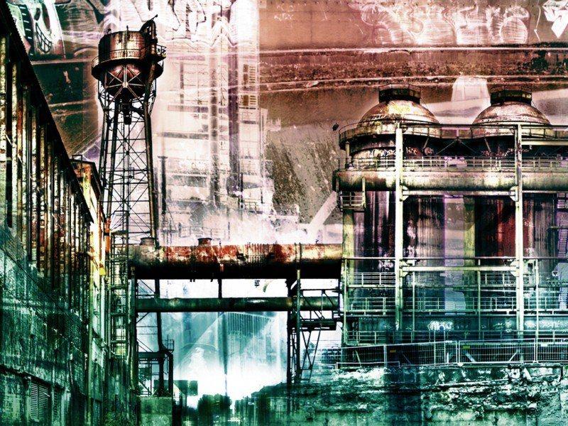 Artland Poster oder Leinwandbild »Architektur Gebäude Digitale Kunst Grün« in Grün