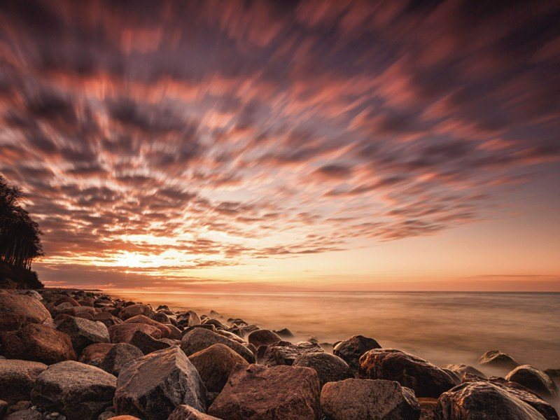 Artland Poster oder Leinwandbild »Landschaften Küste Fotografie Lila« in Lila