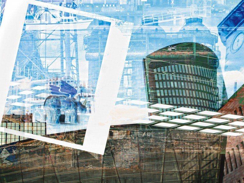 Artland Poster oder Leinwandbild »Architektur Gebäude Digitale Kunst Blau« in Blau
