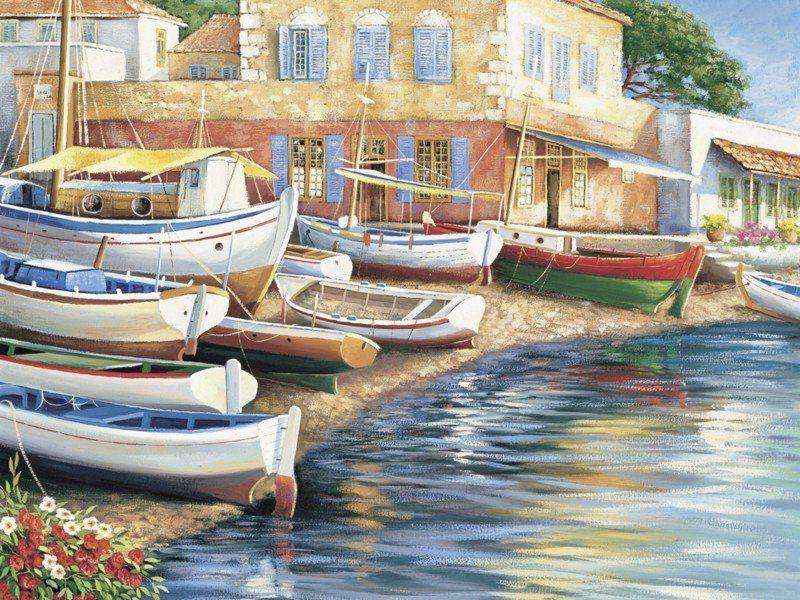 Artland Poster oder Leinwandbild »Fahrzeuge Boote & Schiffe Malerei Blau« in Blau