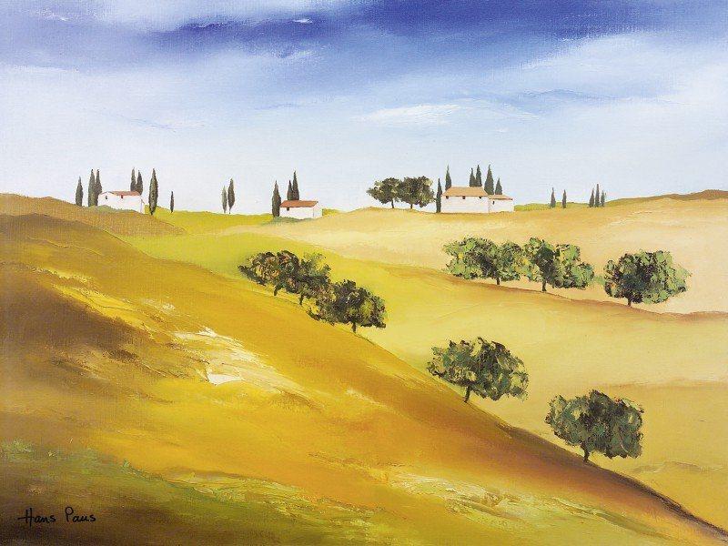 Artland Poster oder Leinwandbild »Landschaften Felder Malerei Orange« in Orange