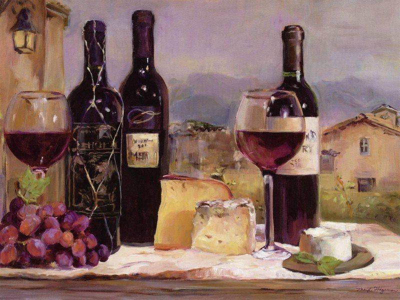 Artland Poster oder Leinwandbild »Ernährung & Genuss Getränke Wein Malerei Bunt« in Bunt