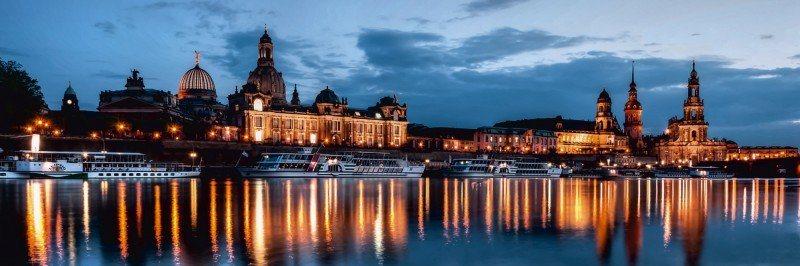 Artland Poster oder Leinwandbild »Städte Deutschland Dresden Fotografie Blau« in Blau