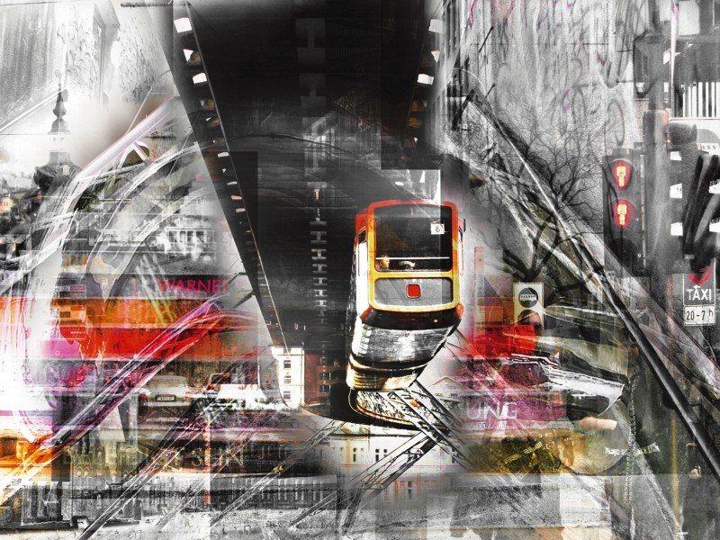 Artland Poster oder Leinwandbild »Fahrzeuge Züge Digitale Kunst Grau« in Grau