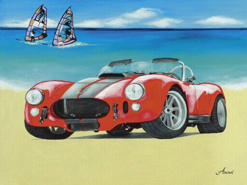 Artland Poster oder Leinwandbild »Fahrzeuge Auto Malerei Rot« in Rot
