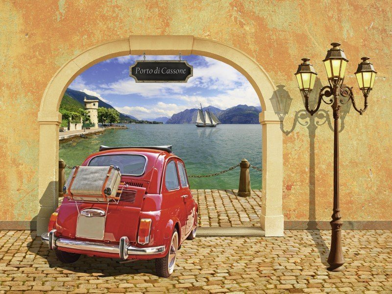 Artland Poster oder Leinwandbild »Fahrzeuge Auto Digitale Kunst Orange« in Orange