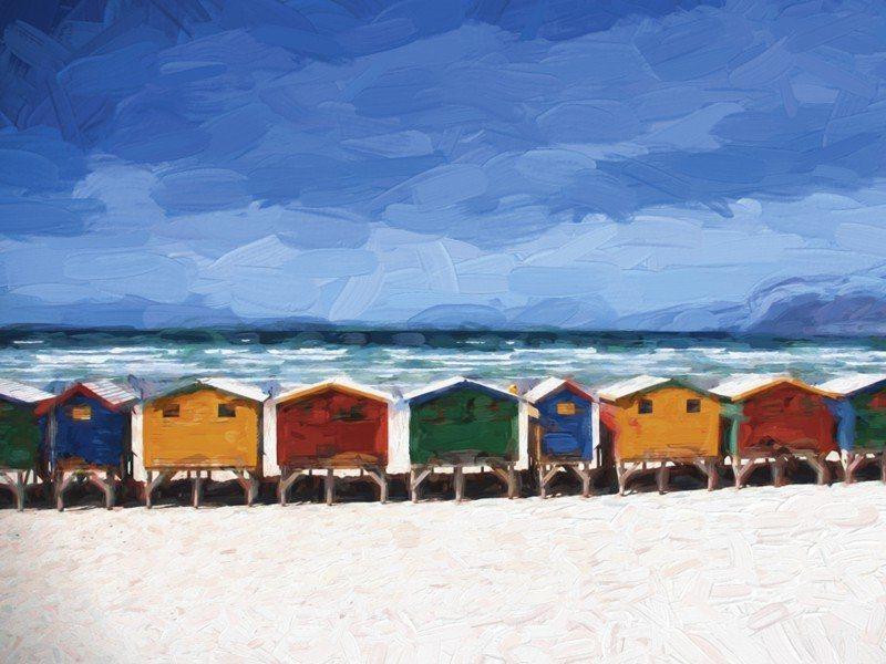 Artland Poster oder Leinwandbild »Landschaften Strand Malerei Blau« in Blau