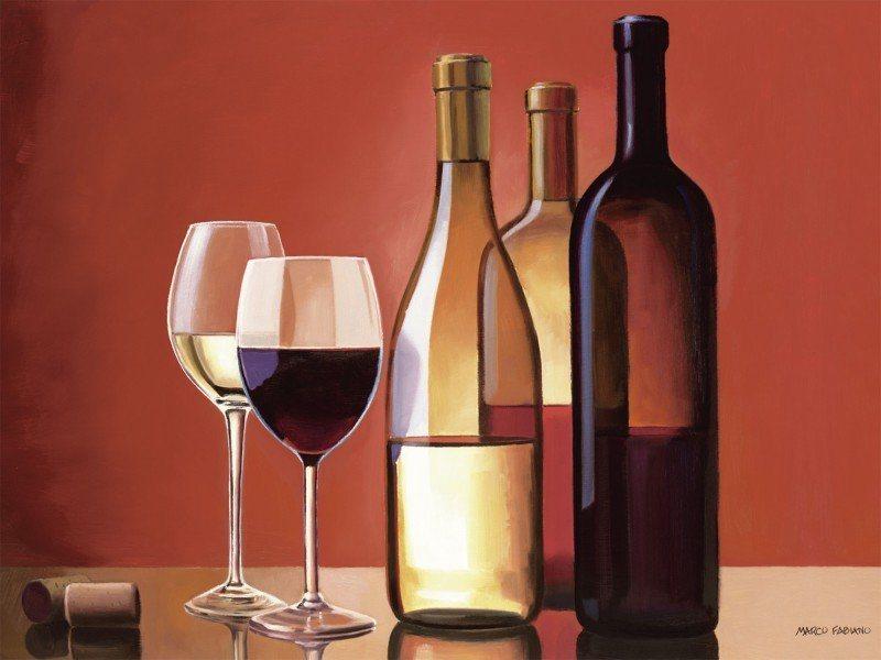 Artland Poster oder Leinwandbild »Ernährung & Genuss Getränke Wein Malerei Rot« in Rot