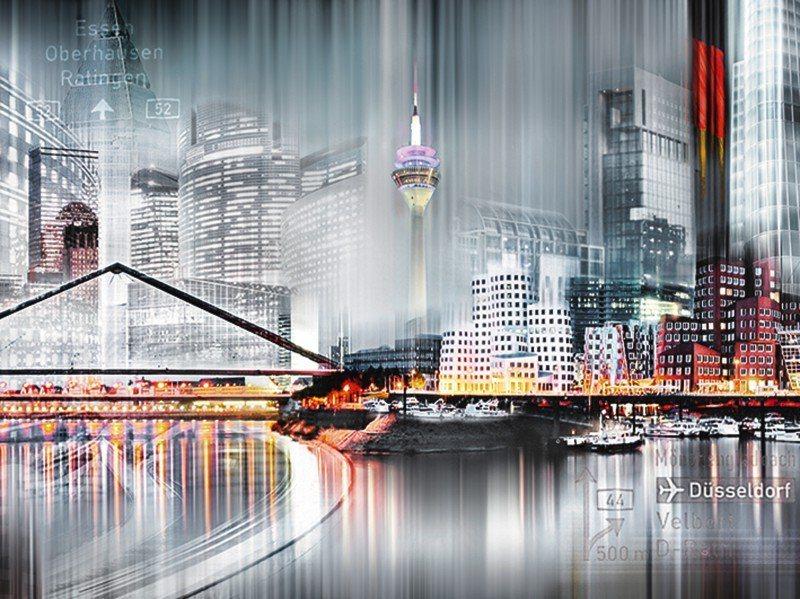 Artland Poster oder Leinwandbild »Städte Deutschland Düsseldorf Digitale Kunst Grau« in Grau