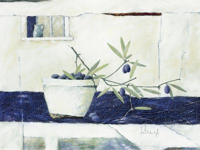 Artland Poster oder Leinwandbild »Stillleben Arrangements Lebensmittel Malerei Blau« in Blau
