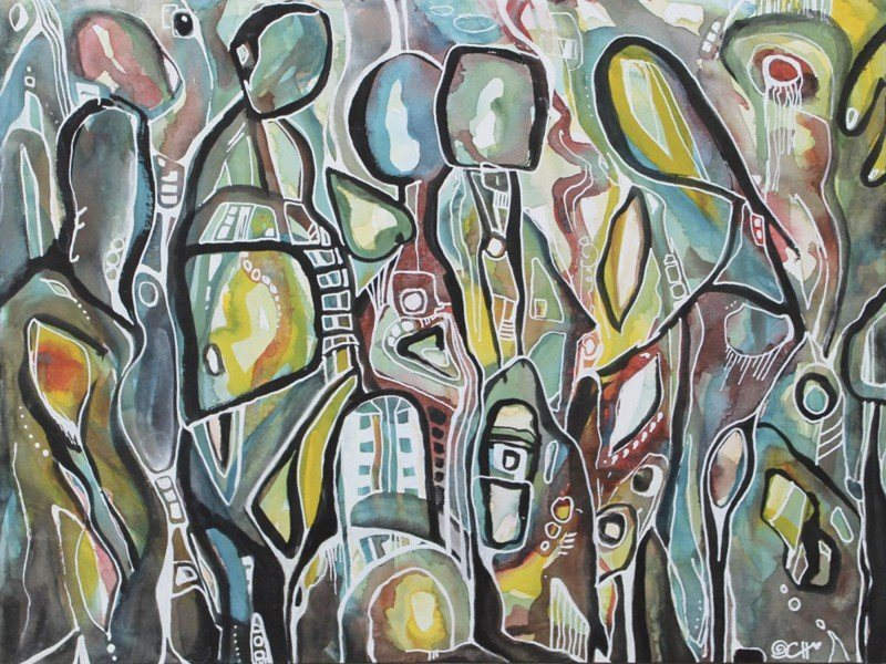 Artland Poster oder Leinwandbild »Abstrakt Muster geometrische Formen Malerei Oliv« in Oliv