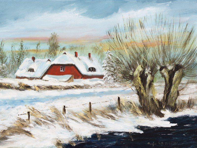 Artland Poster oder Leinwandbild »Landschaften Vier Jahreszeiten Malerei Weiß« in Weiß