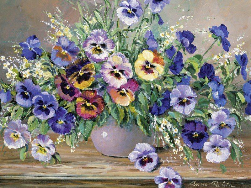 Artland Poster oder Leinwandbild »Botanik Blumen Stiefmütterchen Malerei Bunt« in Bunt