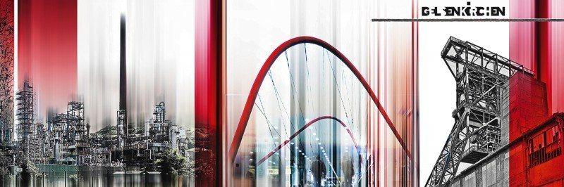 Artland Poster oder Leinwandbild »Architektur Gebäude Digitale Kunst Rot« in Rot