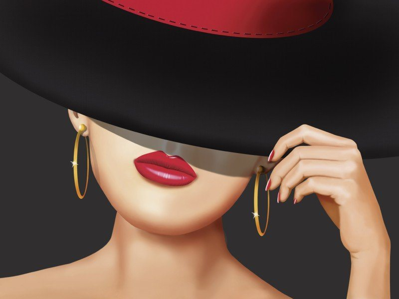 Artland Poster oder Leinwandbild »Menschen Frau Illustration Rot« in Rot