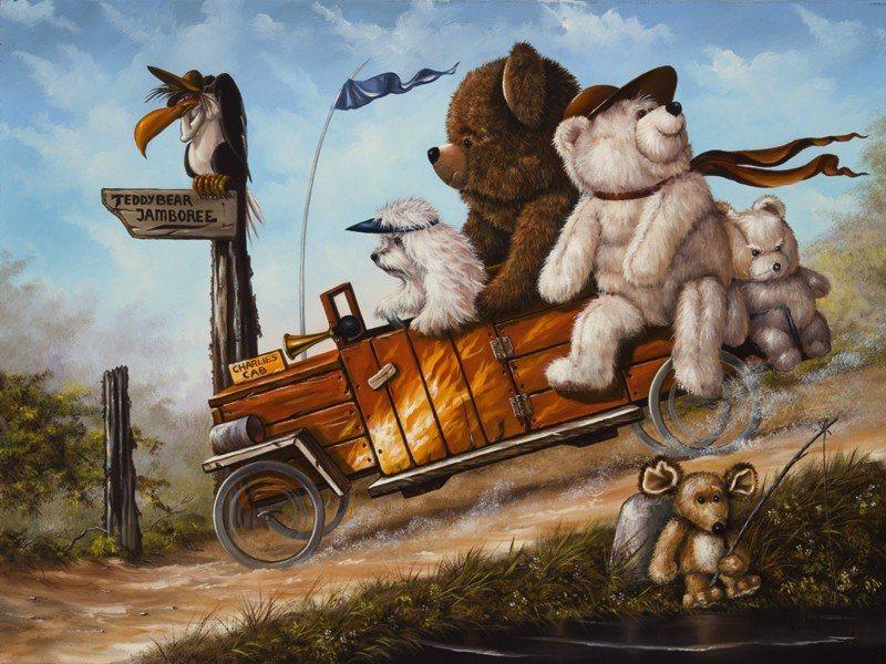 Artland Poster oder Leinwandbild »Kindermotive Spielzeuge Teddy Malerei Weiß« in Weiß