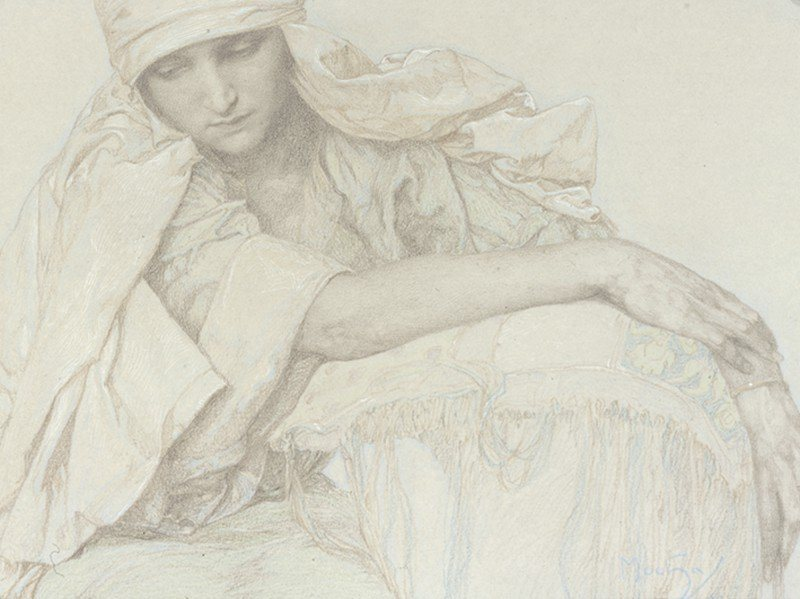 Artland Poster oder Leinwandbild »Menschen Frau Zeichnung Grau« in Grau