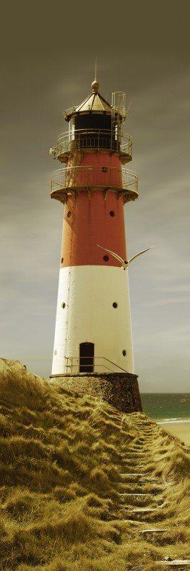 Artland Poster oder Leinwandbild »Architektur Gebäude Leuchtturm Fotografie Orange« in Ocker
