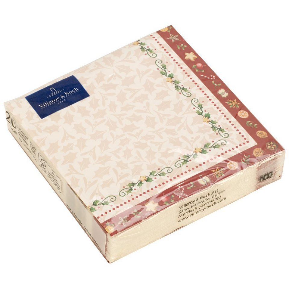 VILLEROY & BOCH Bakery C-Serviette Girlande 25x25cm »Winter Specials« in dekoriert