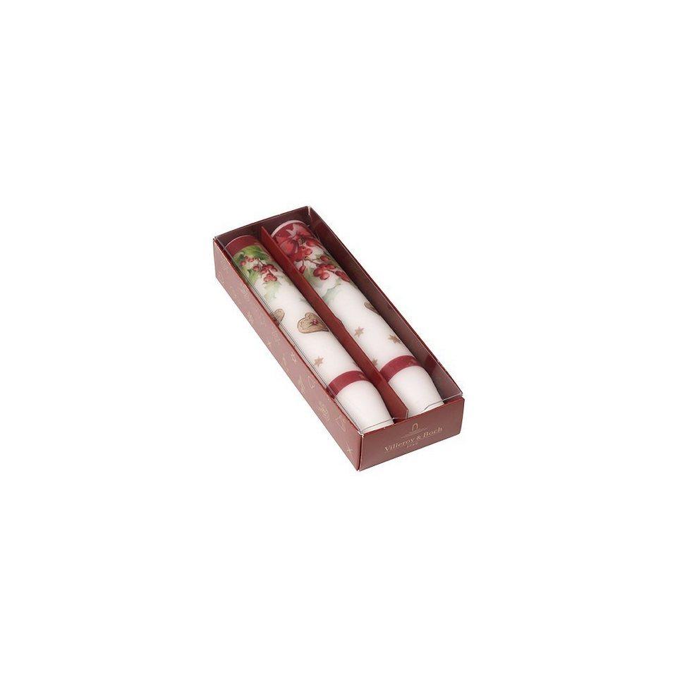 VILLEROY & BOCH Toys Stabkerze Set 2 Ilex 2,8x16,5c »Winter Specials« in dekoriert