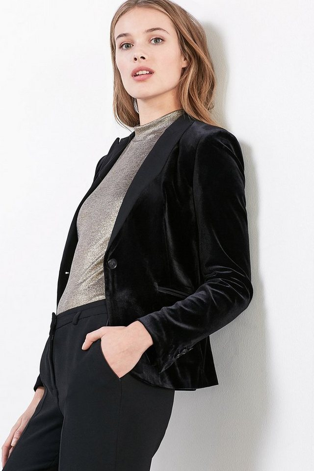 ESPRIT COLLECTION Velvet Tuxedo Blazer in BLACK