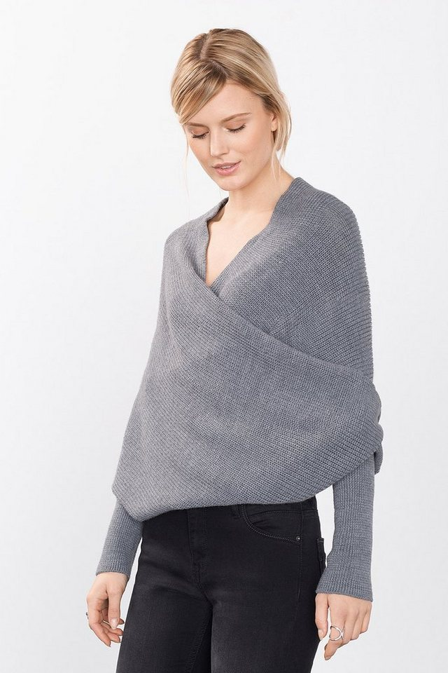 ESPRIT COLLECTION Wrap Cape Grobstrick-Cardigan in GREY