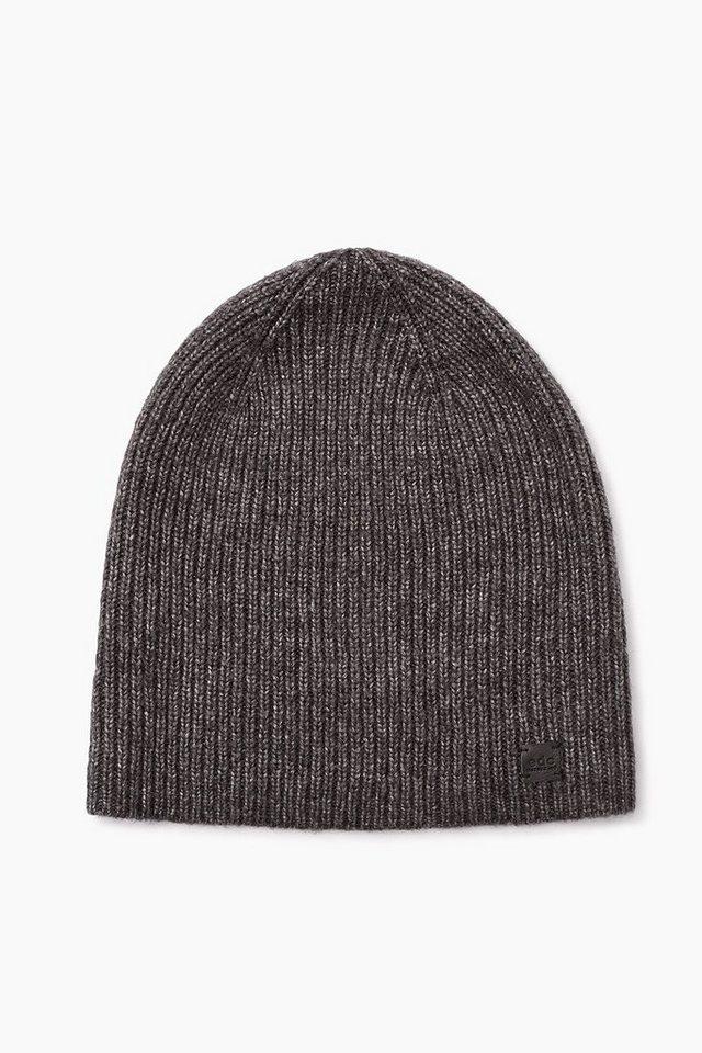 EDC Melierte Beanie-Mütze aus Woll-Mix in BLACK