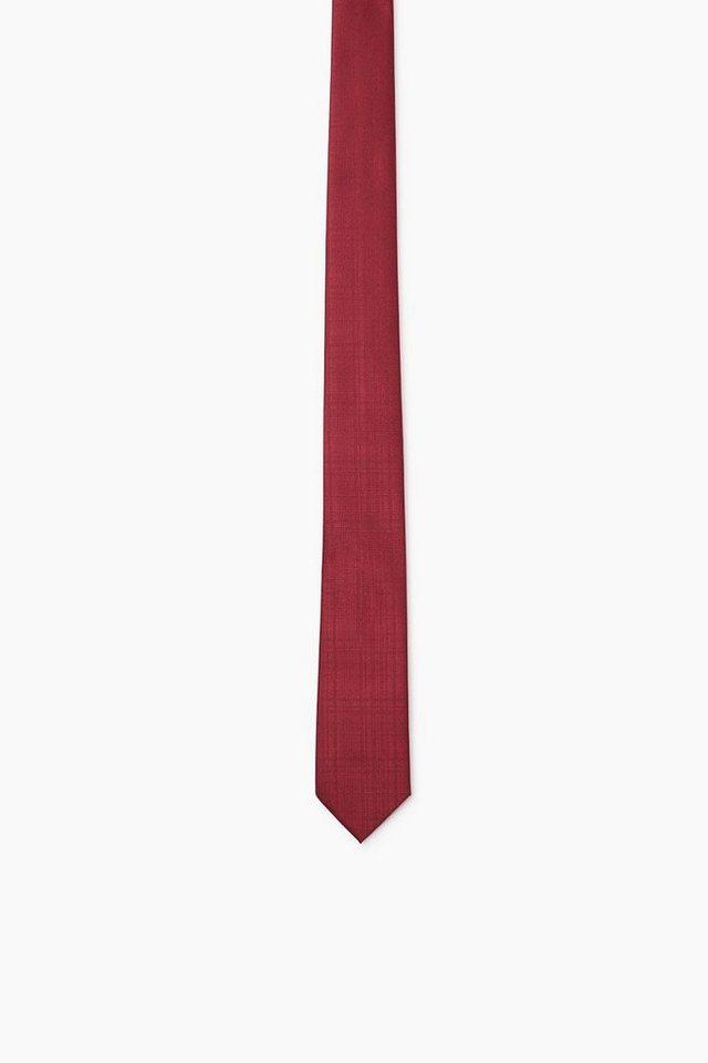 ESPRIT COLLECTION Krawatte mit matt/glänzendem Karomuster in BORDEAUX RED