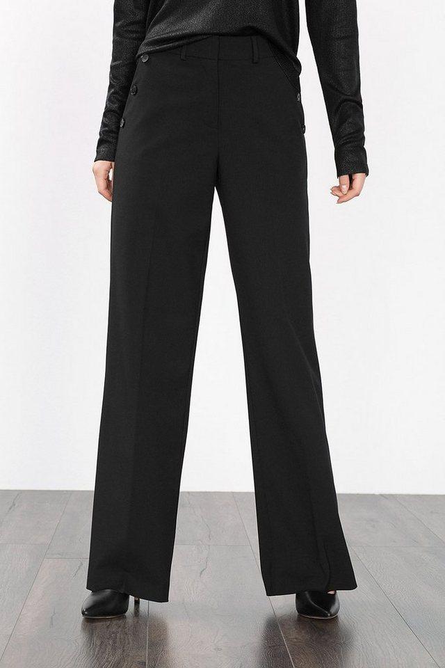 ESPRIT COLLECTION Hose mit weitem Beinverlauf und Knöpfen in BLACK