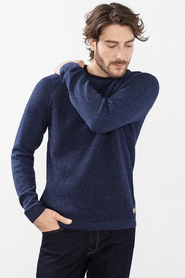 EDC Struktur-Mix Pulli, 100% Baumwolle in NAVY