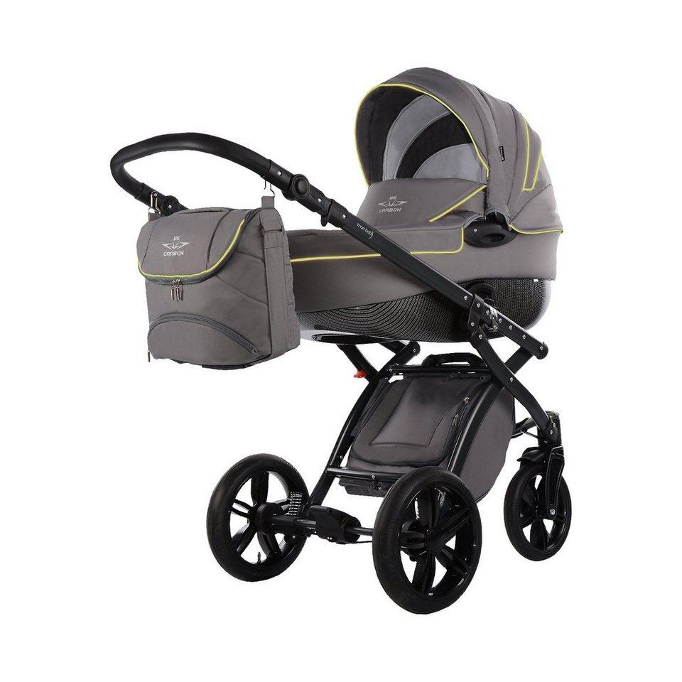 knorr-baby Kombi Kinderwagen Alive Be Carbon, grau-lemon in grau-grün