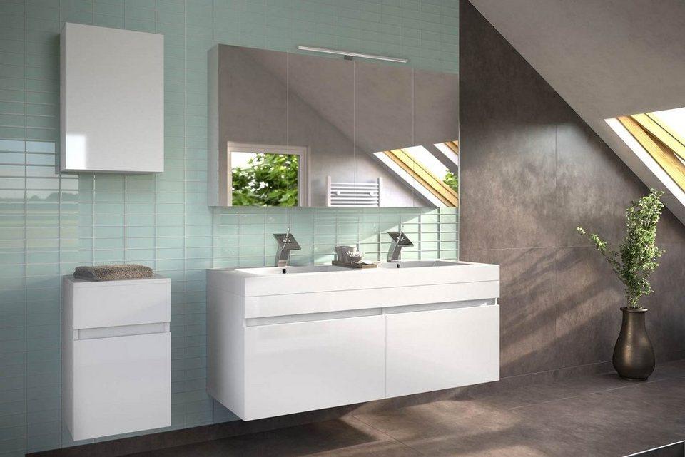 SalesFever Badmöbel-Set, Breite 140 cm, (4-tlg.) »Amrap mit Spiegelschrank« in weiß