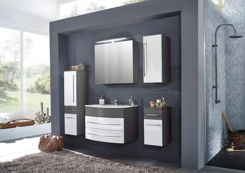 SalesFever Badmöbel-Set, Breite 80 cm, (5-tlg.) »Deborah« in grau/ weiß
