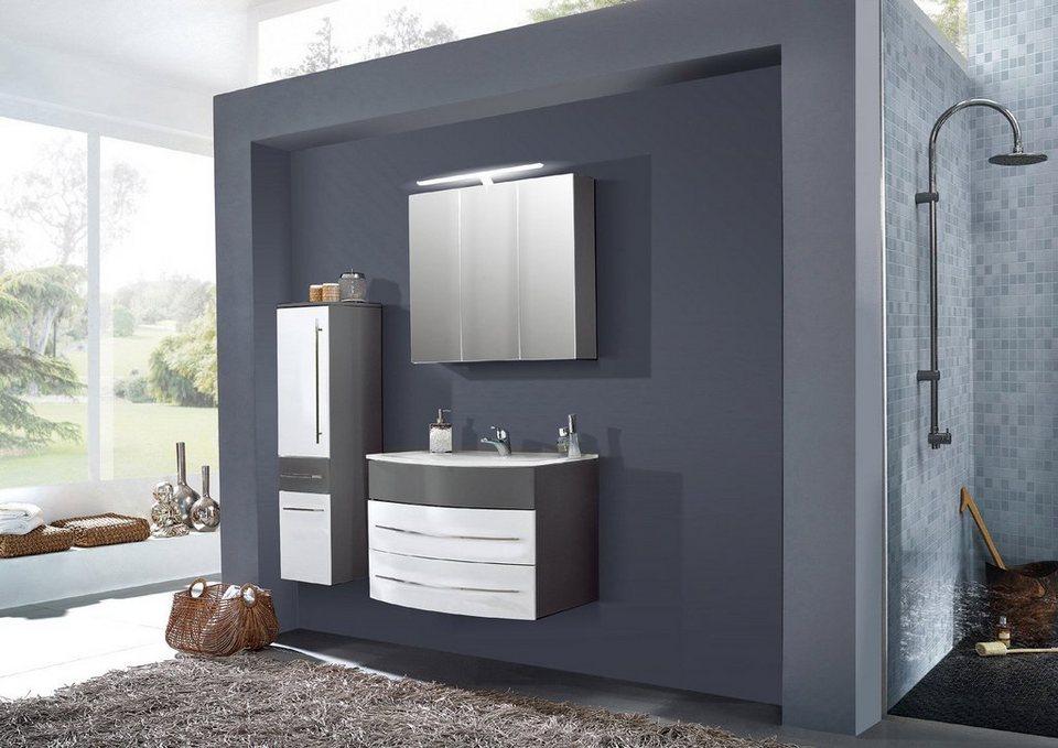 SalesFever Badmöbel-Set, Breite 100 cm, (3-tlg.) »Deborah« in grau/ weiß