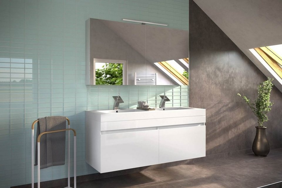 SalesFever Badmöbel-Set, Breite 140 cm, (2-tlg.) »Amrap mit Spiegelschrank« in weiß