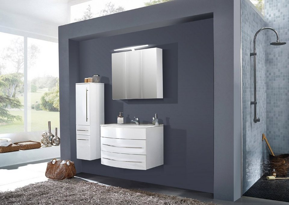 SalesFever Badmöbel-Set, Breite 80 cm, (3-tlg.) »Deborah« in weiß