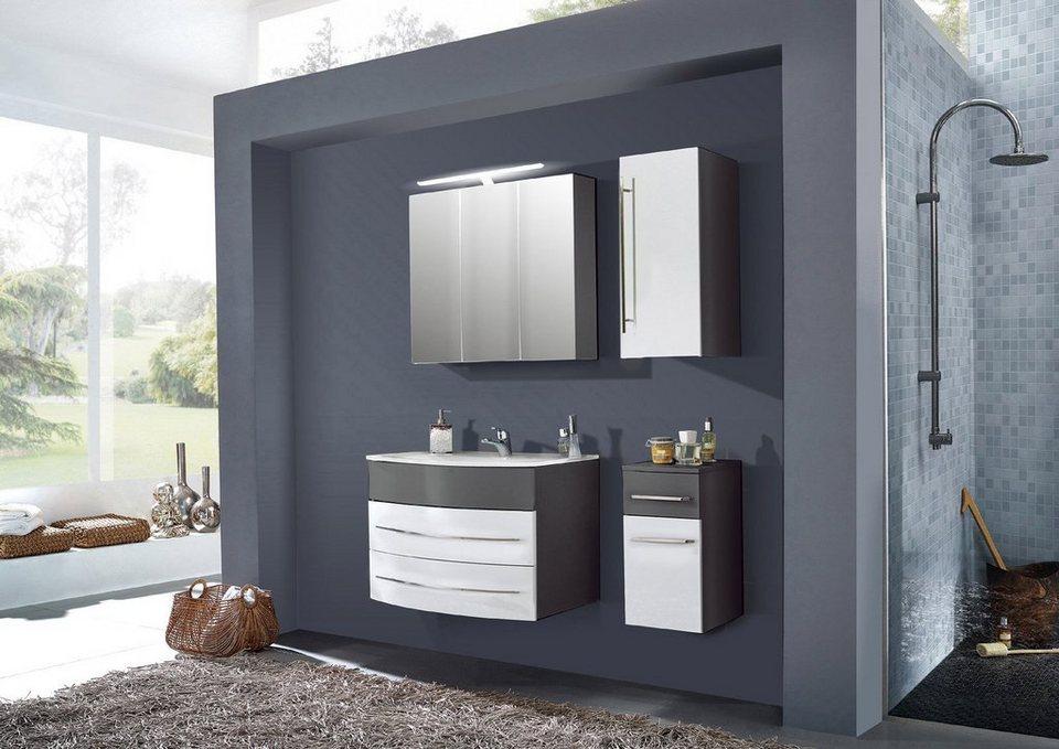 SalesFever Badmöbel-Set, Breite 80 cm, (4-tlg.) »Deborah« in grau/ weiß