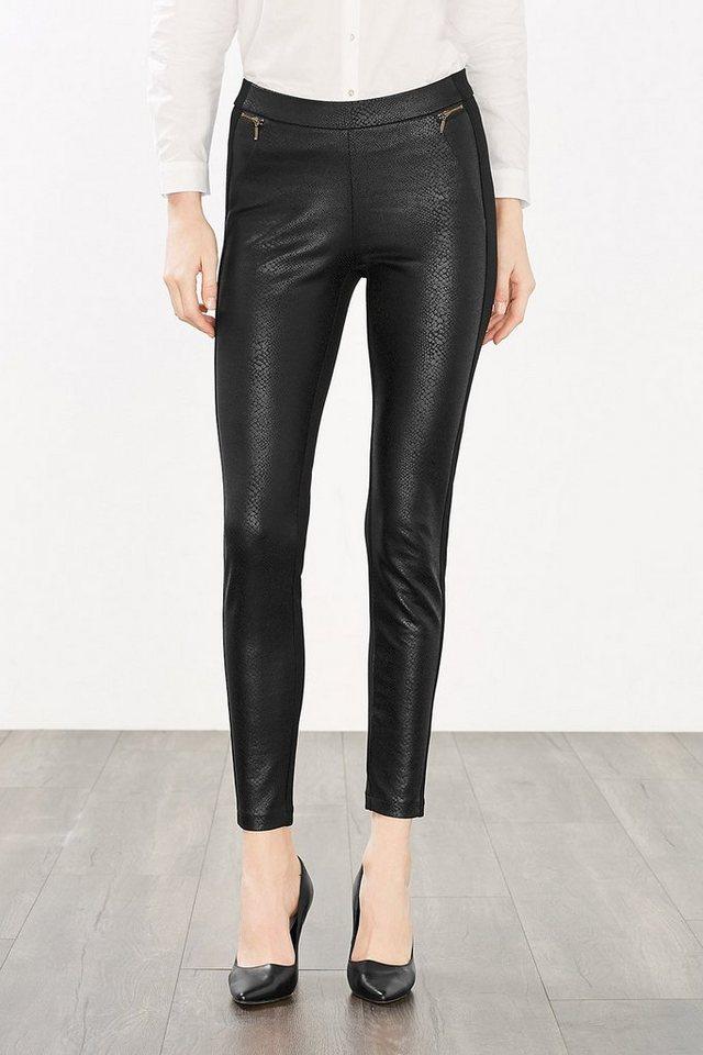 ESPRIT CASUAL Super-Stretch-Hose mit Leder-Optik-Front in BLACK COLOURWAY