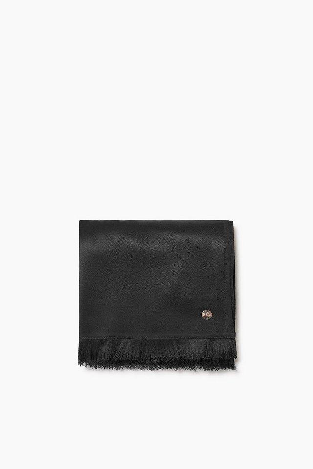 ESPRIT CASUAL Breiter Schal aus Satingewebe mit Glanz in BLACK