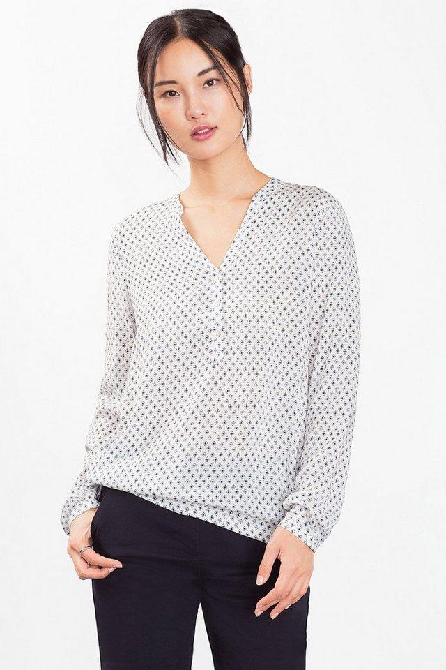ESPRIT CASUAL Fließende Bluse mit Minimal-Print in OFF WHITE
