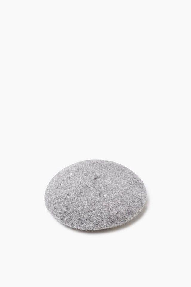 ESPRIT CASUAL Barett Filzmütze mit Herz-Nieten, Wolle in GREY