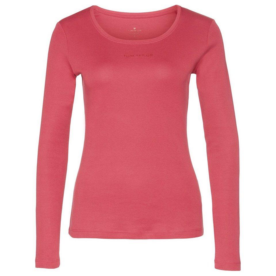 TOM TAILOR T-Shirt »cotton logo shirt« in Frozen Berry Sorbet