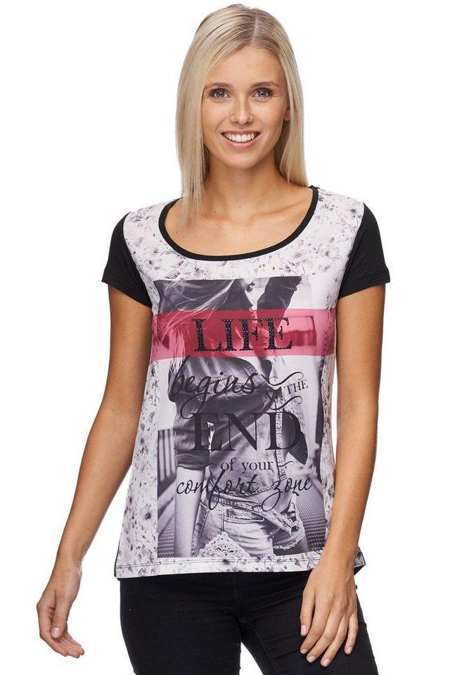 Decay T-Shirt kurzer Halbarm mit Fotoprint und Steinchen in schwarz