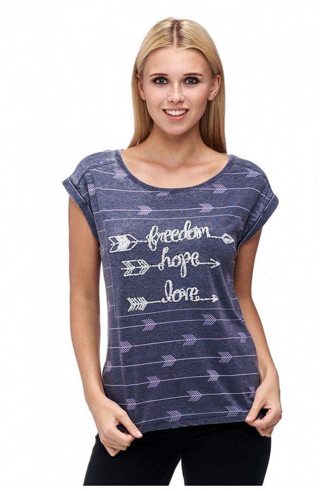 Decay T-Shirt mit Ärmelaufschlag mit Pailletten in blau