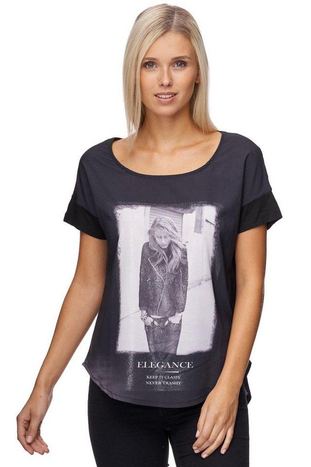Decay T-Shirt abgesetzter Halbarm mit Fotoprint und Glitzer in schwarz