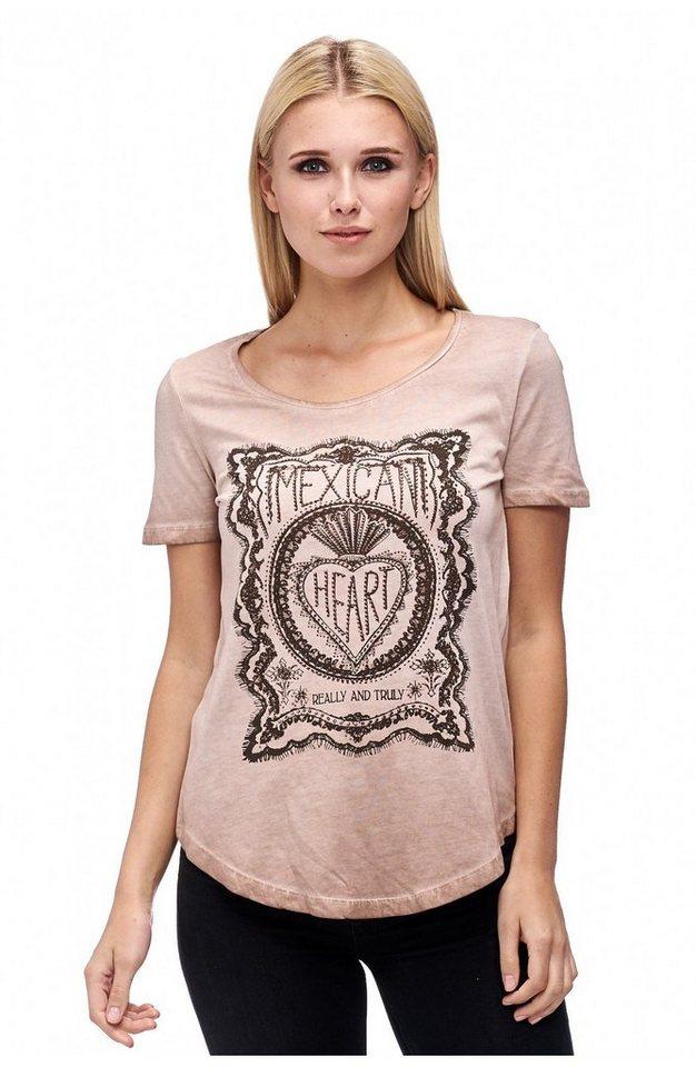 Decay T-Shirt im Used Look mit Mexican Print und Strass-Steinen in puder