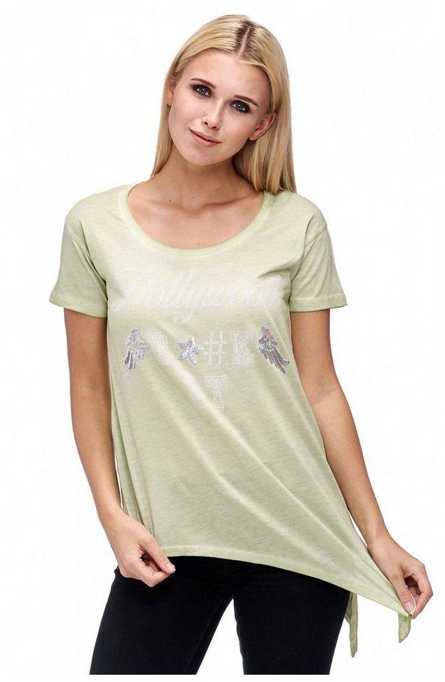 Decay T-Shirt 1/2 Arm mit schrägem Saum und Print in apfelgrün