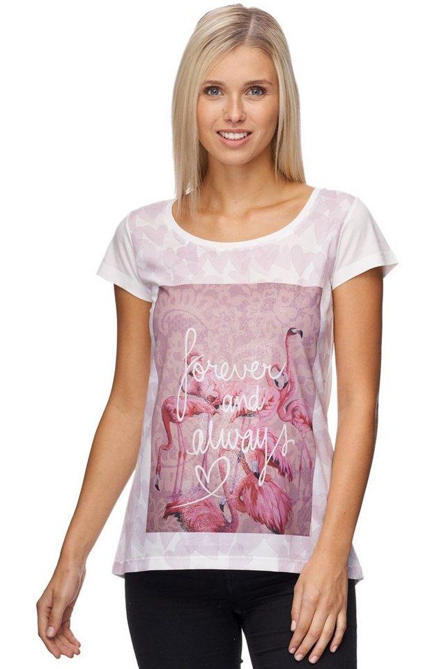 Decay T-Shirt mit Flamingo Fotoprint und Silber Spray in weiß